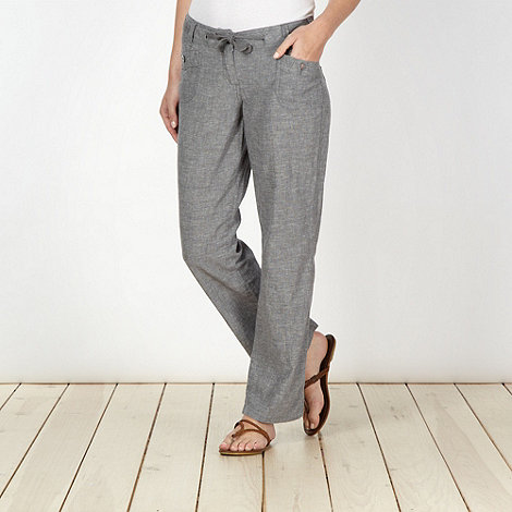 Mantaray - Dark grey crosshatch trousers