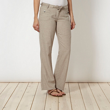 Mantaray - Natural hatched linen trousers