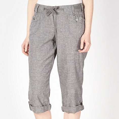 Mantaray - Grey crosshatch cropped trousers