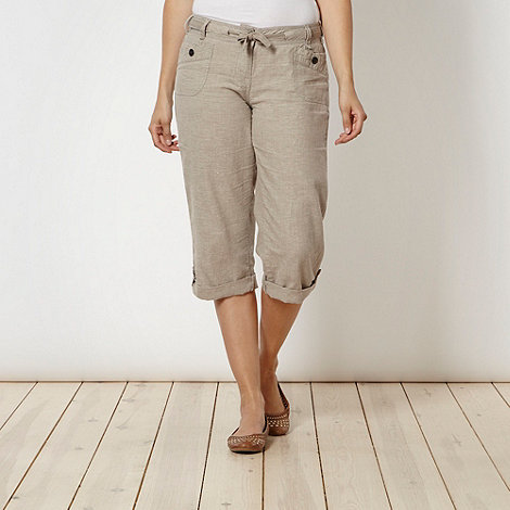 Mantaray - Natural hatched cropped trousers