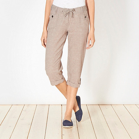 Mantaray - Taupe crosshatch cropped trousers