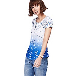 Mantaray - White and blue ombre floral print top