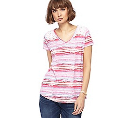 Mantaray - Multi-coloured striped V neck top