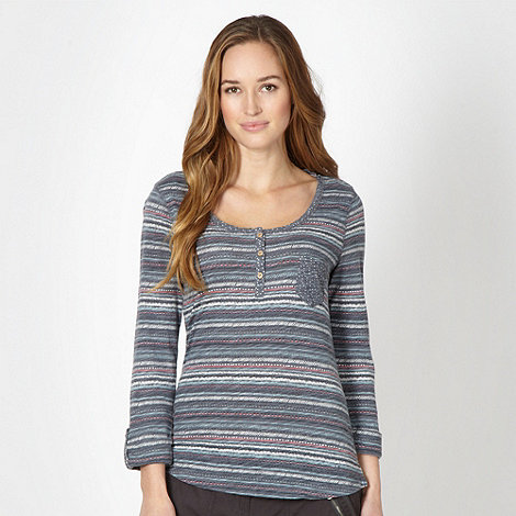 Mantaray - Dark blue pattern striped jersey top