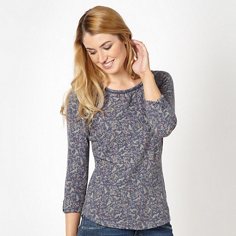 Mantaray - Dark grey fox pattern long sleeve top
