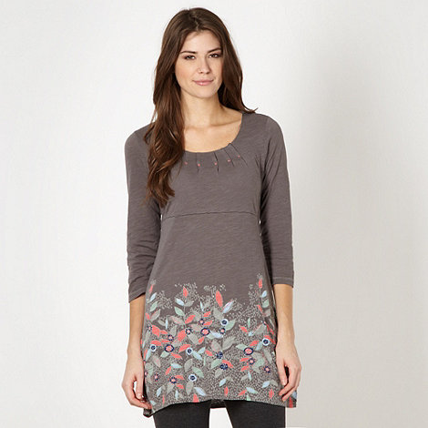 Mantaray - Dark grey floral embroidered tunic