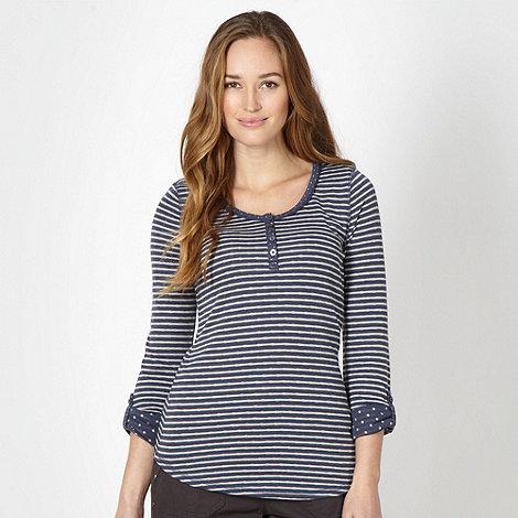 Mantaray - Dark blue striped roll sleeve top