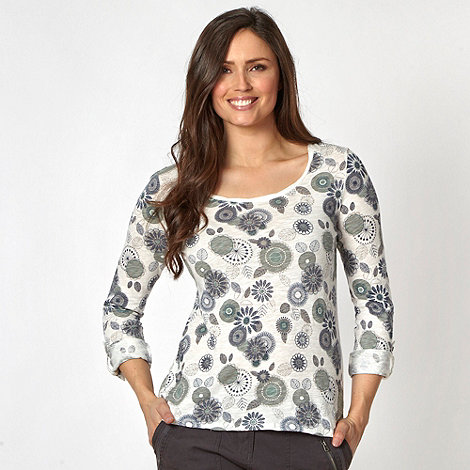 Mantaray - White floral print long sleeved top