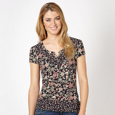Mantaray - Navy floral self tie hem top