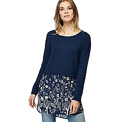 Mantaray - Navy floral mock jumper