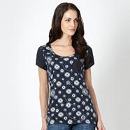 Navy dandelion print top
