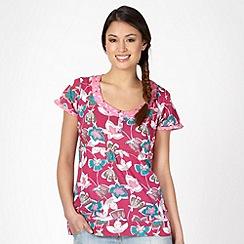 Mantaray - Dark pink flower scoop neck t-shirt