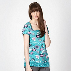 Mantaray - Green floral scoop neck t-shirt