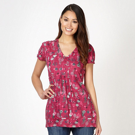 Mantaray - Dark pink floral t-shirt