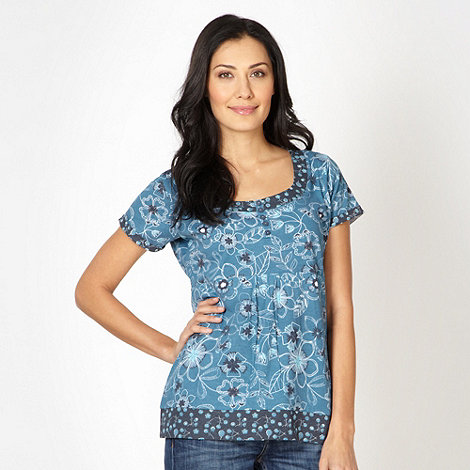 Mantaray - Turquoise floral t-shirt