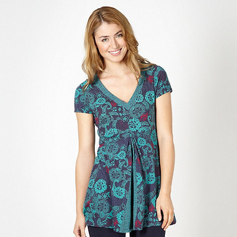 Mantaray - Navy floral tunic top