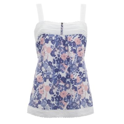 White floral jersey camisole