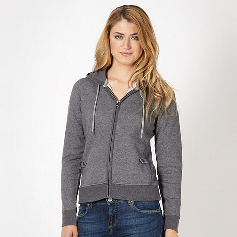 Mantaray - Grey plain zip through hoodie