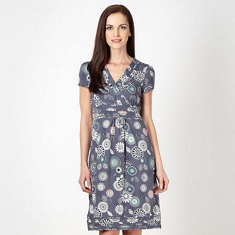 Mantaray - Dark blue floral wrap over jersey dress