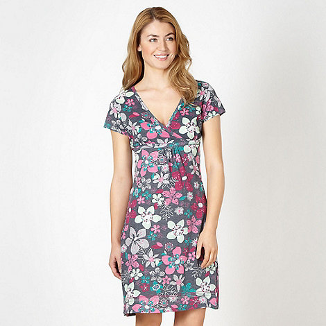 Mantaray - Dark grey jersey floral dress