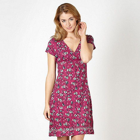 Mantaray - Dark pink jersey floral dress
