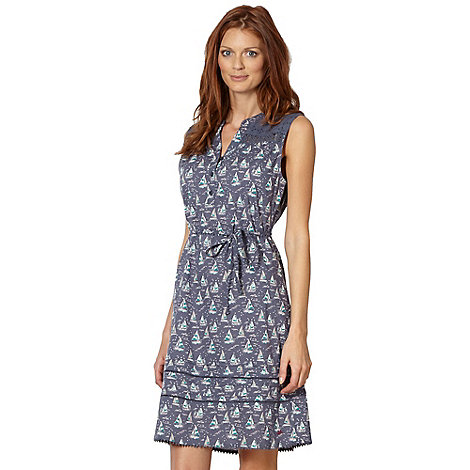 Mantaray - Dark blue boat print dress