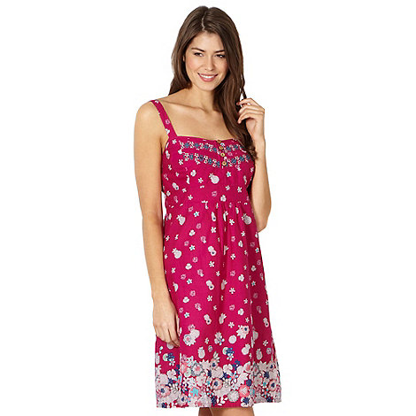 Mantaray - Pink floral embroidered beach dress
