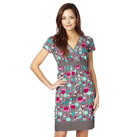 Mantaray - Grey woven tulip print dress