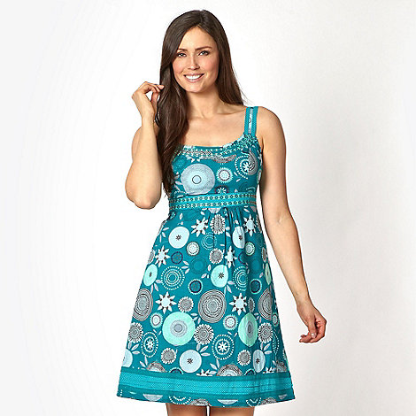 Mantaray - Aqua cartwheel geometric dress