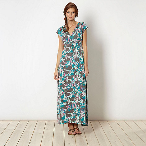 Mantaray - Grey hibiscus maxi dress