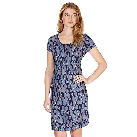 Mantaray - Dark blue leaf patterned shift dress