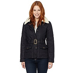 Mantaray - Navy fleece collared twill coat