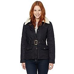 Mantaray - Navy fleece collared twill coat