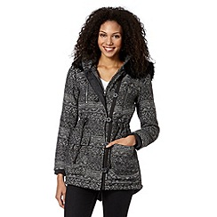 Mantaray - Dark grey textured aztec parka jacket