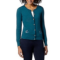 Mantaray - Dark turquoise embroidered pocket cardigan