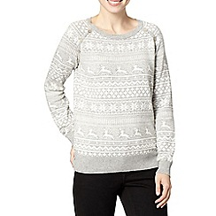 Mantaray - Grey snowflake and reindeer jumper