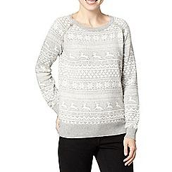 Mantaray - Grey snowflake and reindeer jumper
