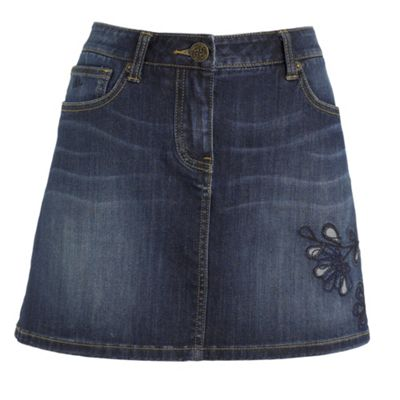 Mantaray Blue embroidered denim mini skirt product image