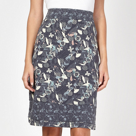 Mantaray - Navy leaf printed jersey skirt