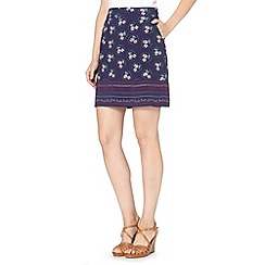 Mantaray - Navy floral embroidered hem skirt