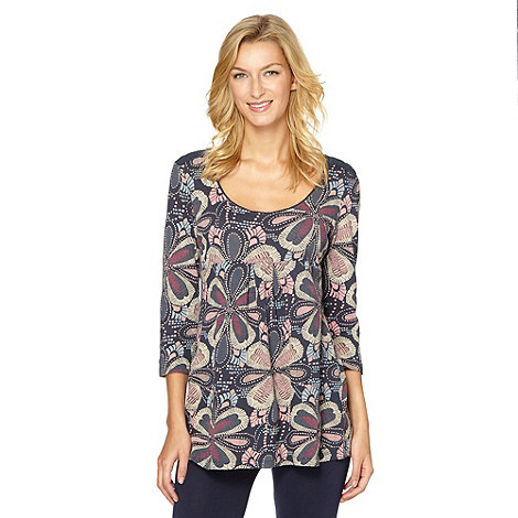 Mantaray - Navy flower print scoop neck tunic