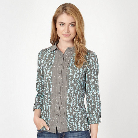Mantaray - Grey mixed spot and floral print jersey shirt