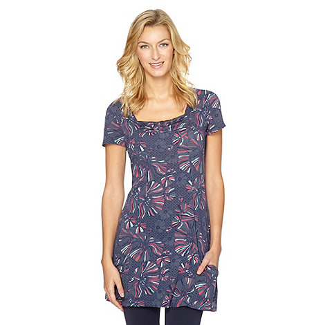 Mantaray - Navy floral square neck tunic