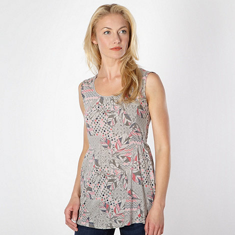 Mantaray - Grey leaf print tunic top