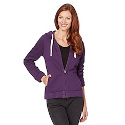 Mantaray - Purple knitted trim hoodie