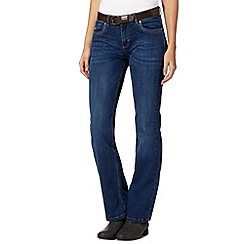 Mantaray - Blue belted bootcut jeans