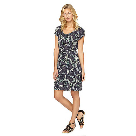 Mantaray - Navy bird and fern print t-shirt dress