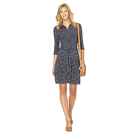 Mantaray - Navy bird print shirt dress