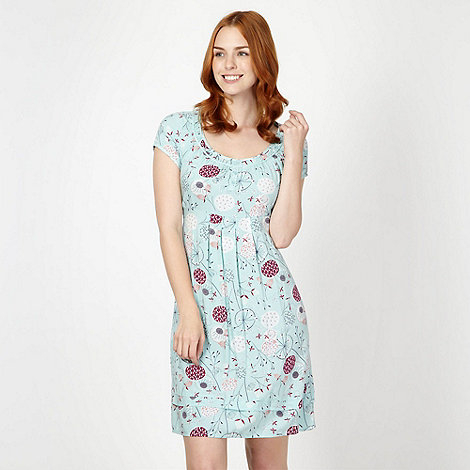 Mantaray - Aqua dandelion print tea dress