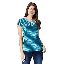 Mantaray - Dark turquoise painted stripe top